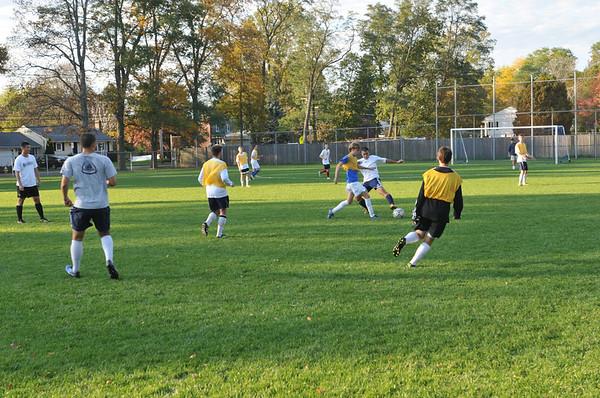 Danvers: The St. John's Prep varsity soccer team scrimages during practice. photo by Mark Teiwes / Salem News