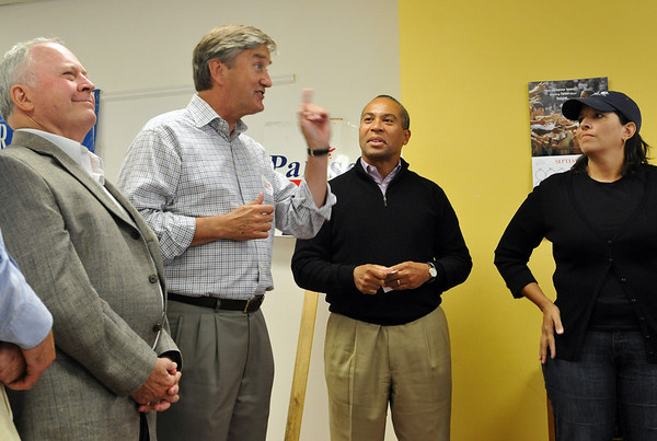 Beverly:  From left, Beverly Mayor Bill Scanlon, Congressman John Tierney,Governor Deval Patrick, and Salem Mayor join together with supporters and organizers at the Beverly Democratic campaign office following a full-day of canvassing. photo by Mark Teiwes / Salem News