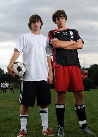 Marblehead:  Marblehead soccer team captains Nate Cullen, left, and Mike Brenan are ready for the upcoming season.  photo by Mark Teiwes / Salem News