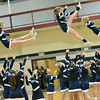 Wenham: Peabody High School cheerleaders perform a half time routine during a game against Beverly.  photo by Mark Teiwes  / Salem News