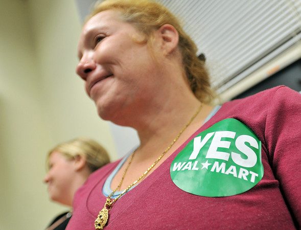 Salem:  Mary Dyce of Salem attends the meeting to show support for  the developers Lowe's and Walmart plan. She commented on the job and economic benefits as well as improvements to the infrastructure.   photo by Mark Teiwes / Salem News