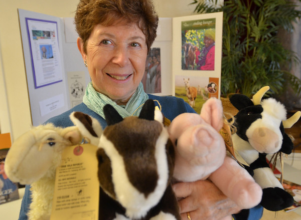 Danvers: June Baser holds gifts from the non-profit Heifer International at the Maple Street Congregational Church Advent Fair.  Shoppers have a chance to make a difference with their gift purchases next Sunday December 5th from 11am-2pm.  photo by Mark Teiwes / Salem News