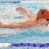 Marblehead: Marblehead swimmer Harrison Rodts completes in the fly.  photo by Mark Teiwes  / Salem News