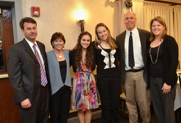 Danvers: 49th annual Salem News Student-Athlete Award banquet.  <br /> From left, Doug, Cathy, and Alison Lanois, Hannah, Hugh, and Laura O'Flynn.  photo by Mark Teiwes / Salem News