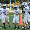 Hamilton:  Hamilton-Wenham Youth Football players line up during practice.   photo by Mark Teiwes / Salem News