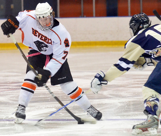Salem: Beverly's Andrew Irving releases a shot on goal.  photo by Mark Teiwes / Salem News