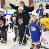"Gloucester: Youth hockey players Beverly league yell, ""Go Beverly!"".  photo by Mark Teiwes  / Salem News"