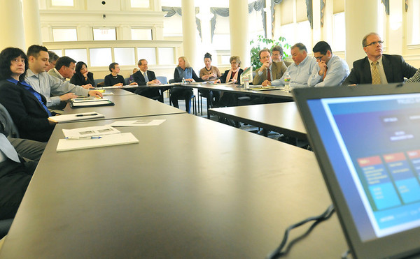 Salem: Local government, environmentalist and development leaders  listen to consultants propose plans on the future of the Salem Harbor Station.  Mark Teiwes / Salem News
