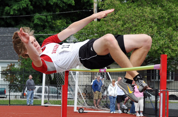 Lynn: At the Northeastern Conference track meet, Salem High School athlete Ben Dibble clears the high jump.  Photo by Mark Teiwes / Salem News