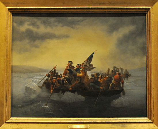 Marblehead: Art work at Abbot Hall selectman's meeting room: Washington Crossing the Delaware, by Emanuel Leutze 1816-1868   photo by Mark Teiwes / Salem News
