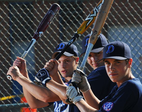 Danvers: Tyler Dustin, left, Alex Valles, and Erik Larsen are the three top hitters for the Danvers Babe Ruth baseball 14-year-old all-star team.   photo by Mark Teiwes / Salem News