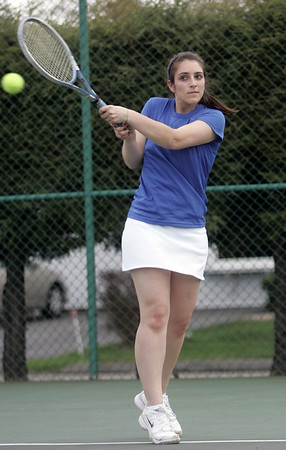 Danvers: Danvers third singles player Paige Clarizia makes a return during a match against Gloucester. photo by Mark Teiwes