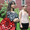 Peabody:  Artists in residence Ashton Alba, 19, left, and Meghan Wicks, 21, stand outside of the Nathanial Felton Jr. House at Brooksby Farm were they are living and making art for the summer.    photo by Mark Teiwes / Salem News