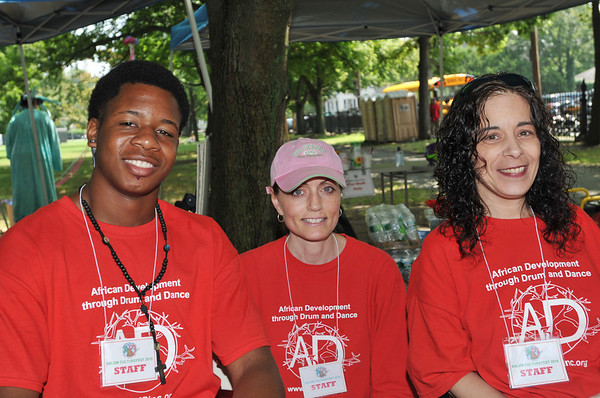 Salem: Diarra Pickett, left, Moira Kiley, and Debbie Scaduto help run the logistics for the Salem Culture Fest.    photo by Mark Teiwes / Salem News