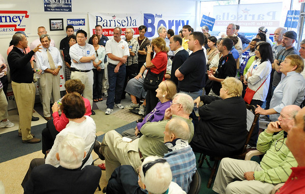 Beverly:  Kicking off the general gubernatorial election, Governor Deval Patrick addresses supporters at theBeverly Democratic campaign office who have been canvassing the town. photo by Mark Teiwes / Salem News