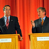 Beverly:  Bill Hudak, left and John Tierney went back and forth in a spirited debate last night.  photo by Mark Teiwes / Salem News
