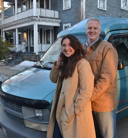 Salem: Andrea Aeschlimann and Bruce Mabbott are taking this wheelchair lift-equipped Chevy Astro Van from Salem to Mongolia, this summer.  photo by Mark Teiwes / Salem News
