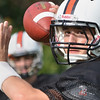 Beverly: Beverly High School quarterback Dave Rollins makes a throw during practice. photo by Mark Teiwes / Salem News