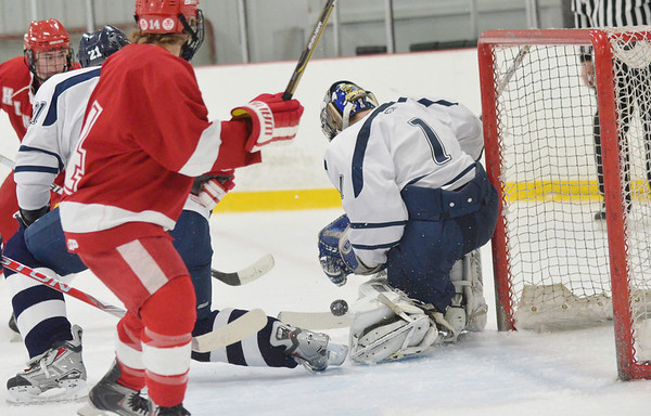 Wilmington: St. John's Prep goalie David Letarte makes a save from a Hingham shot.  photo by Mark Teiwes  / Salem News