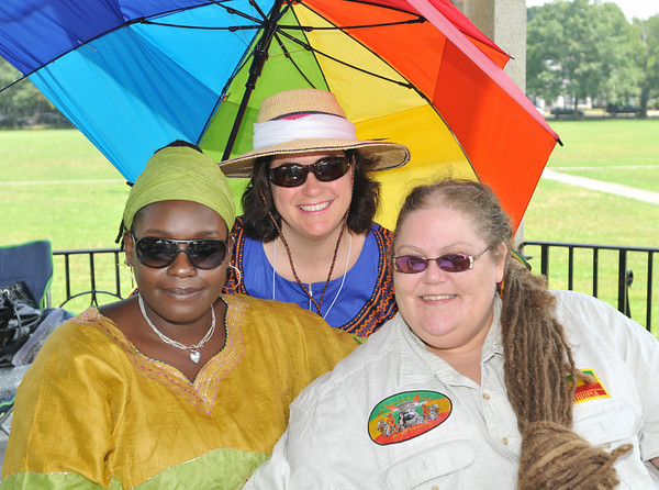 "Salem: Pictured from left: Frances ""Nico"" Nwajei, left, of A3D, Debra Crosbi, VP of A3D and DJ Luv Bug Patti Mani.  A3D stands for African Development Through Drum and Dance.  The Salem base non-profit started Salem Culture Fest, and is involved with development projects in Africa.  photo by Mark Teiwes / Salem News"
