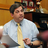Boston: Senator Bruce Tarr leads a meeting with the GOP caucus at the State House.  photo by Mark Teiwes  / Salem News