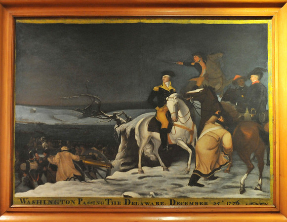 Marblehead:  Washington Passing the Delaware, December 25 1776, Art work at Abbot Hall, selectman's meeting room.   photo by Mark Teiwes / Salem News