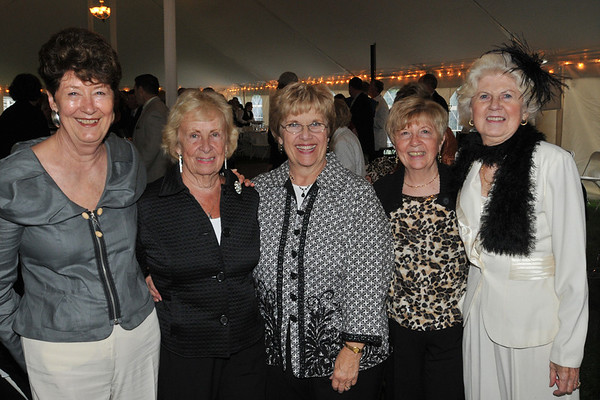 Danvers: Pictured form left are Beverly Lentine, Janet Delande, Ann Fouhey, Margaret Fulchino, and Sandra Sears at the Baron Mayer Award champagne reception for the start of the Danvers Family Fesitval. photo by Mark Teiwes / Salem News