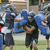 Middleton: North Shore Tech/Essex Aggie football players run through drills during practice.  photo by Mark Teiwes  / Salem News