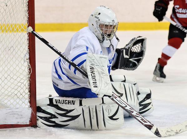 Salem: Danvers goalie Seth Kamens guards his goal. photo by Mark Teiwes / Salem News