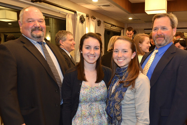 Danvers: 49th annual Salem News Student-Athlete Award banquet. <br /> John Jennings, left, with his daughter Katharine, and Jeremiah Jennings,right, with his daughter Jula. photo by Mark Teiwes / Salem News