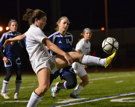 Lynn: Danvers midfielder Kylie Plaza juggles the ball in Division 2 North semifinals against Hamilton-Wenham. photo by Mark Teiwes / Salem News