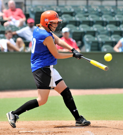 Lynn: Beverly's Kiki McKenna connects for a double during the the 13th annual Agganis All-Star Classic softball game. photo by Mark Teiwes / Salem News