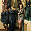 Peabody: High school fashion design students Daybar Gaye, left, and Sabrina DelVecchio show and wear some of the many outfits they have made. photo by Mark Teiwes / Salem News