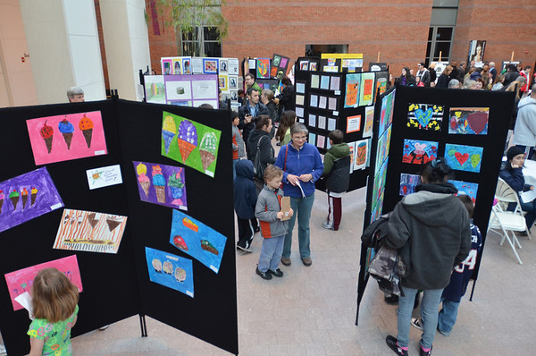 "Salem: Salem students from many schools display pop art for the ""Art Can Make A Difference"" event at the Peabody Essex Museum.  photo by Mark Teiwes / Salem News"