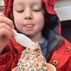 "Danvers: Patrick Restuccia, 5, of Ipswich digs into a cup of icecream at the Cherry Farm Creamery ""Ice Cream for Breakfast"" event benefiting a children's room at the Peabody Institute Library in Danvers.  photo by Mark Teiwes  / Salem News"