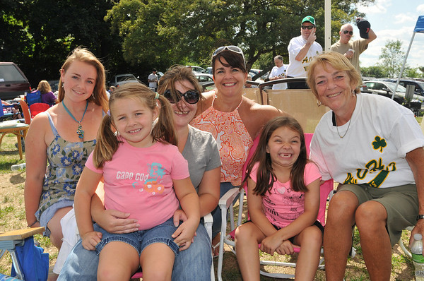 Salem: The AOH held a cookout at Camp Naumkeag.  Pictured from left: Kelsey Baker, Maya Longo, 5, Melanie Longo, Tracy Salehi, Sami Longo, 7, and Michele MacDonald. photo by Mark Teiwes / Salem News