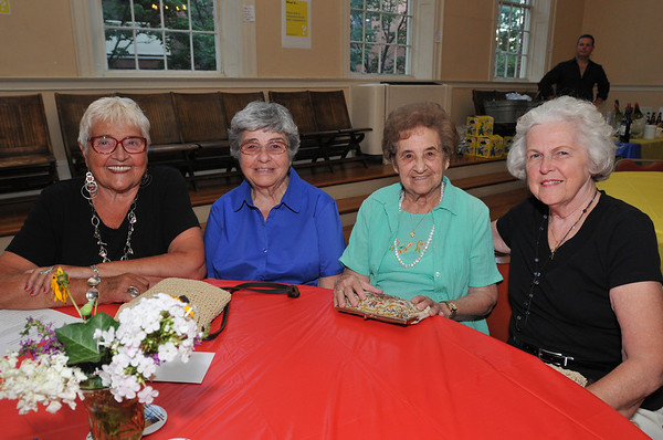 Salem: Jaoanne Cunningham, left, Jennie Miano, Josie Cultera, and Isabel Sweeney all from Salem came to enjoy the Cannoli and Chianti in Concert together.   photo by Mark Teiwes / Salem News
