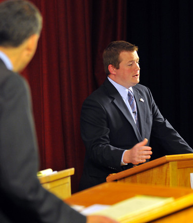 Brett Schetzsle, Republican candidate for Beverly state representative, makes a point during during a debate Oct. 20. Photo by Mark Teiwes / Salem News