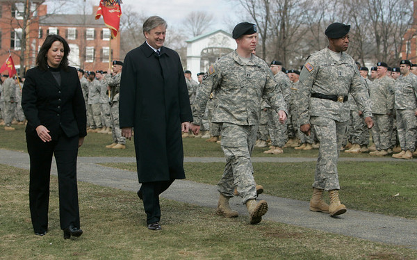 Salem: Mayor Mayor Kim Driscoll, left, Congressman John Tierney, Captain Kevin Callahan, and Joseph C. Carter, Major General and the Adjutant General of the Massachusetts National Guard walk together during a pass in review of the troops, veterans and historical militia groups.  photo by Mark Teiwes / Salem News