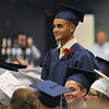 Middleton: North Shore Technical High School graduate Gary Polsonetti smiles as he is recognized for joining the Air Force.  photo by Mark Teiwes / Salem News