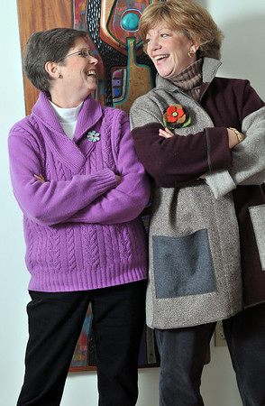 """Marblehead: Lynn Potoff of Salem, left, and Lou Ann Daly of Marblehead own a """"life architecture and design"""" firm, where they do life coaching.  photo by Mark Teiwes  / Salem News"""