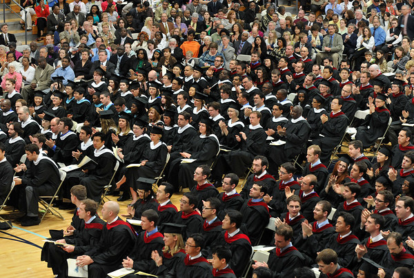 Wenham: Gordon-Conwell Theological Seminary students applaude during their graduation ceremony. photo by Mark Teiwes / Salem News