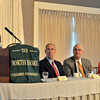 Danvers: The presidents of four local hospitals speak at a North Shore Chamber forum entitled: Health Care Reform and What Lies Ahead.  From left, Robert Norton,   North Shore Medical Center; Dr. Howard Grant, Lahey Clinic; Ken Hanover, Northeast Health System (Beverly Hospital); and Sandra Fenwick, Children's Hospital.  photo by Mark Teiwes  / Salem News