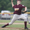 Danvers:  Danvers National Little League relief pitcher Dean Borders throws a fastball in a District 15 game against Groveland. photo by Mark Teiwes / Salem News