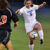 Danvers: Danvers defender Erin Loehner traps the ball. photo by Mark Teiwes / Salem News