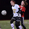 Peabody: Bishop Fenwick's Lauren Toye-O'Donnell, left, scored the games second goal against Salem. photo by Mark Teiwes / Salem News