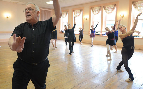 Salem: Gene Murray teaches an adult ballet class at his studio.    photo by Mark Teiwes / Salem News