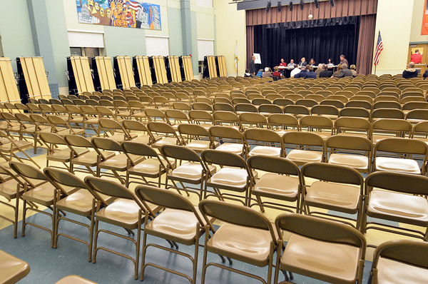SALEM: A room at the Bowditch School was set up ready to hold a large amount of people, but the hearing on the methadone clinic was postponed.  photo by Mark Teiwes / Salem News