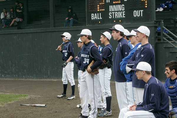 Marblehead:   Swampscot High School boys baseball team watches as their team is up to bat against Marblehead.  photo by Mark Teiwes
