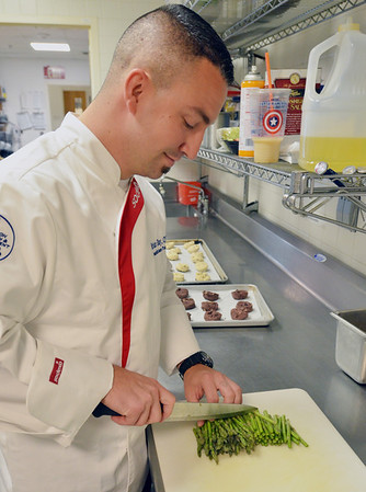 Brian Ray, executive chef at Lahey Clinic in Peabody, is headed to an American Culinary Federation cooking competition later this week in Dallas.  photo by Mark Teiwes / Salem News